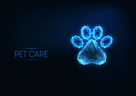 Futuristic pet care, veterinary clinic, grooming service logo concept with low polygonal animal paw 스톡 콘텐츠 - 155920992