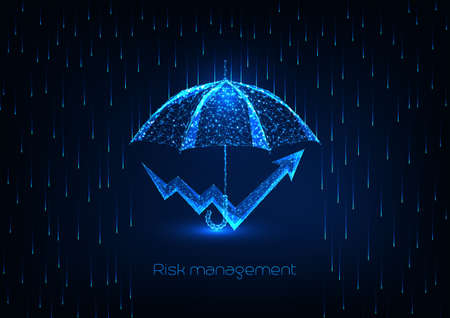 Futuristic risk management concept with glowing low polygonal umbrella and chart arrow Reklamní fotografie - 155920994