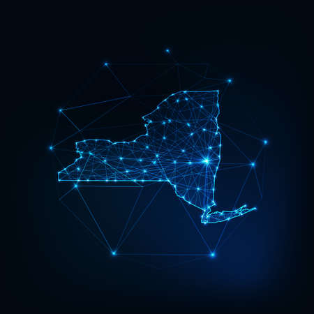 New York state USA map glowing silhouette made of stars lines dots triangles, low polygonal shapes. 스톡 콘텐츠 - 155019481