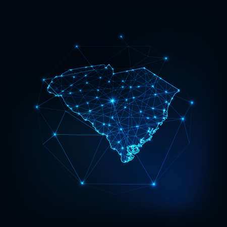 South Carolina USA map glowing silhouette made of stars lines dots triangles, low polygonal shapes.