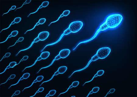 Futuristic glowing low polygonal human sperm cells on dark blue background.