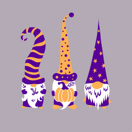 Three cute scandinavian halloween gnomes holding pumpkin isolated on grey background.