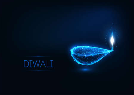 Happy Diwali greeting card template with glowing low polygonal festival lights lamp, stars and text.