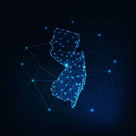New Jersey state USA map glowing silhouette made of stars lines dots low polygonal shapes.