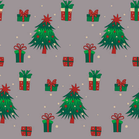 Christmas trees and gift boxes seamless pattern on grey background. Reklamní fotografie - 157372626