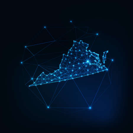 Richmond state USA map glowing silhouette made of stars lines dots triangles, low polygonal shapes. Ilustrace