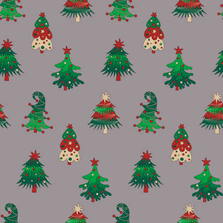 Christmas trees and gift boxes seamless pattern on grey background. Reklamní fotografie - 157494430