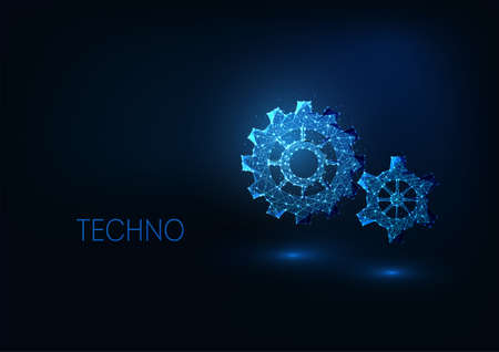 Futuristic digital technologies concept with glowing low polygonal gears on dark blue background. Reklamní fotografie - 157154880