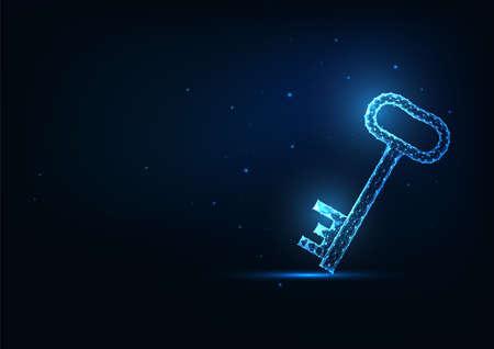 Futuristic glowing low polygonal door key isolated on dark blue background. 스톡 콘텐츠 - 157155072