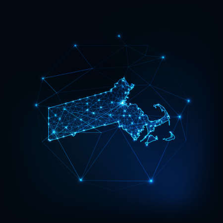 Massachusetts state USA map silhouette made of stars lines dots triangles, low polygonal shapes. 일러스트