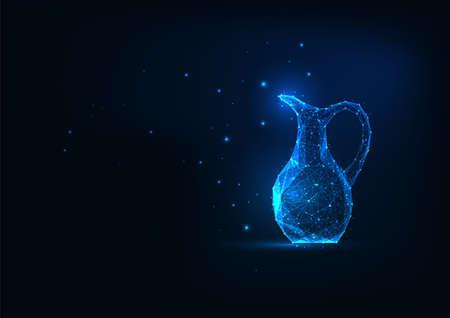 Futuristic glowing low polygonal ancient jug isolated on dark blue background. Reklamní fotografie - 157397203