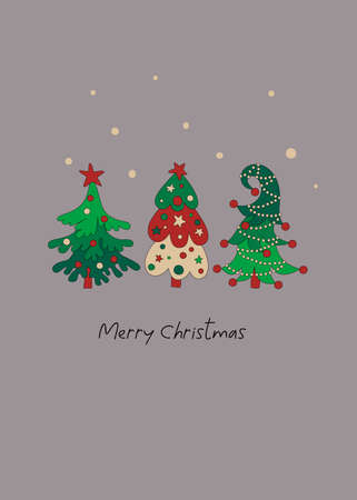 Merry Christmas greeting card template with cute hand drawn pine trees on grey background. 일러스트