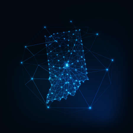 Indiana state USA map glowing silhouette made of stars lines dots triangles, low polygonal shapes.