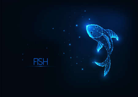 Futuristic glowing low polygonal fish isolated on dark blue background.