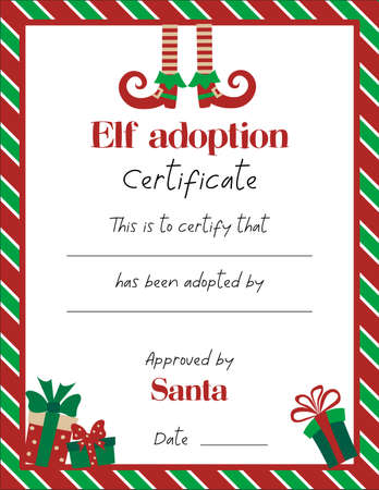 Elf adoption cerificate template with cute elf legs and christmas gifts on white background.