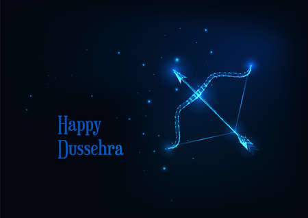 Futuristic Happy Dussehra banner with glowing low polygonal on arroe and bow dark blue background. Reklamní fotografie - 157687413