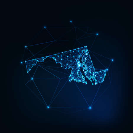 Maryland state USA map glowing silhouette made of stars lines dots triangles, low polygonal shapes. Reklamní fotografie - 157723383