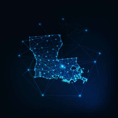 Louisiana state USA map glowing silhouette made of stars lines dots triangles, low polygonal shapes. 일러스트