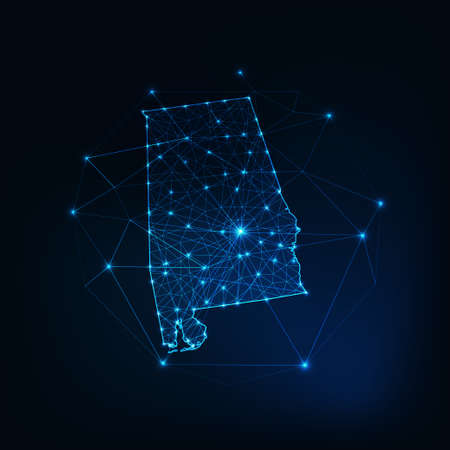 Alabama state USA map glowing silhouette made of stars lines dots triangles, low polygonal shapes.