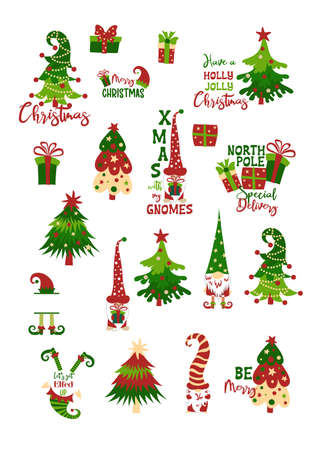 Christmas sticker set with gnomes, Christmas trees, elves, gift boxes isolated on white background.