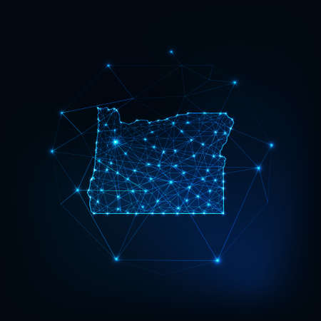 Oregon USA map glowing silhouette outline made of stars lines dots triangles, low polygonal shapes. 일러스트