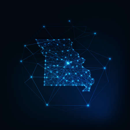 Missouri state USA map glowing silhouette made of stars lines dots triangles, low polygonal shapes.