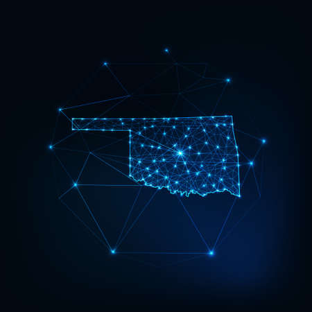 Oklahoma state USA map glowing silhouette made of stars lines dots triangles, low polygonal shapes.