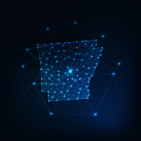 Arkansas state USA map glowing silhouette made of stars lines dots triangles, low polygonal shapes.
