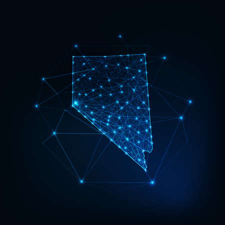 Nevada state USA map glowing silhouette made of stars lines dots triangles, low polygonal shapes.
