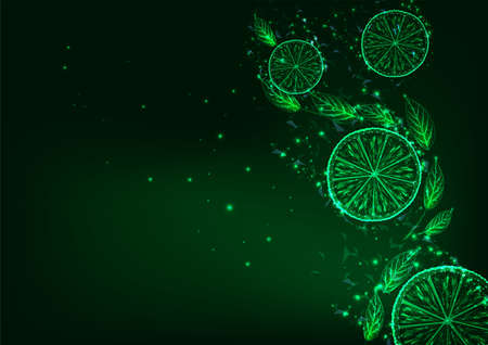 Futuristic glowing low polygonal lemon or lime slices and green leaves on dark green background.