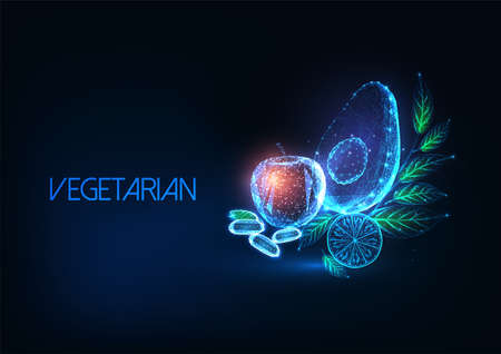 Futuristic vegetarian or vegan diet concept with glowing low polygonal fruits and vegetables.