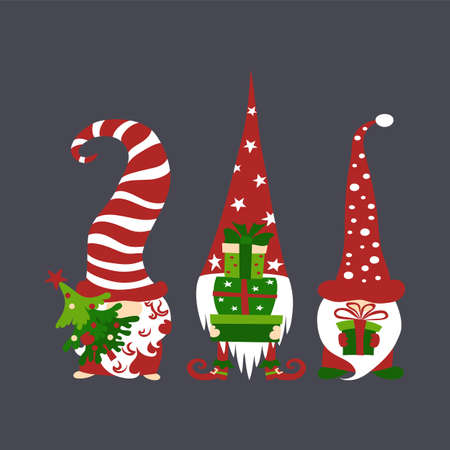Three cute scandivaian christmas gnomes holding gift boxes and tree on dark grey background. Иллюстрация