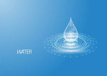 Futuristic low polygonal water drop with splash ripples made of lines, dots on blue.
