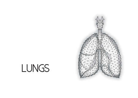 Human anatomical lungs made of lines and dots isolated on white background.
