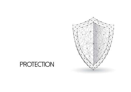 Low polygonal guard shield made of black lines and dots isolated on white background. 일러스트