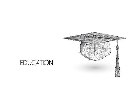Education concept with low polygonal graduation hat isolated on white background.