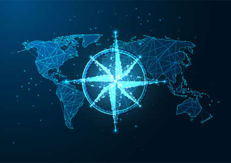 Futuristic navigation concept with glowing low polygonal compass rose and world map