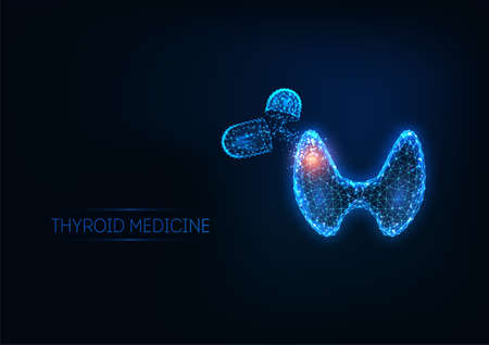Futuristic thyroid disease treatment concept with glowing polygonal human thyroid gland and pills 일러스트