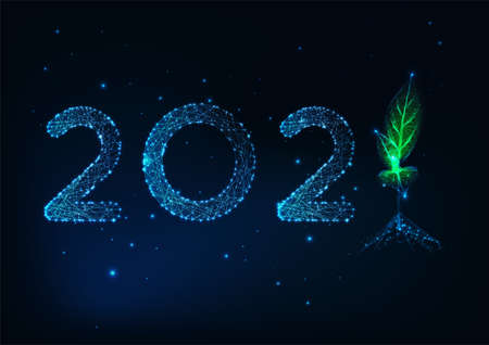 Futuristic 2021 Happy New Year greeting card template with low polygonal numbers and green sprout 일러스트