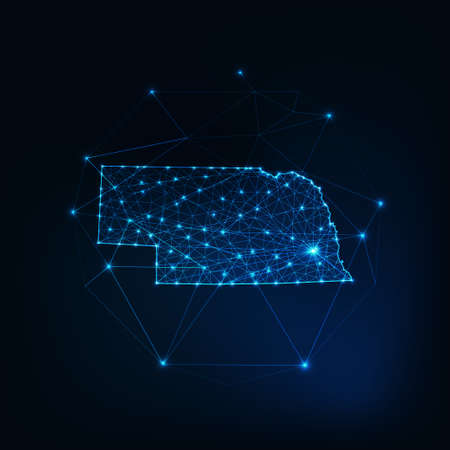 Nebraska state USA map glowing silhouette made of stars lines dots triangles, low polygonal shapes. 일러스트