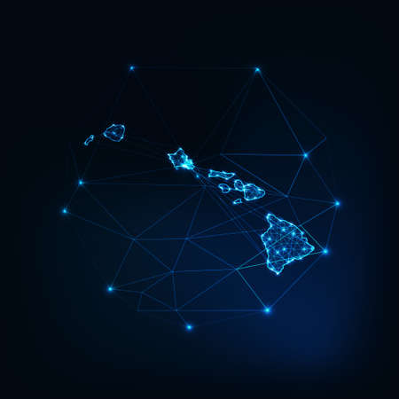 Hawaii state USA map glowing silhouette made of stars lines dots triangles, low polygonal shapes.