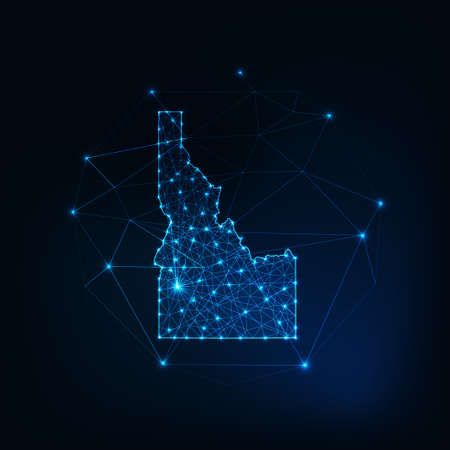 Idaho state USA map glowing silhouette made of stars lines dots triangles, low polygonal shapes.