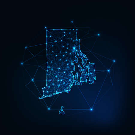 Rhode Island state USA glowing map made of stars lines dots triangles, low polygonal shapes. 일러스트
