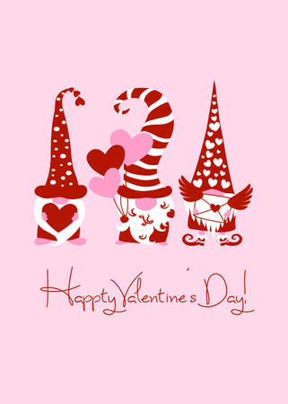 Happy Valentines Day greeting card with three cute scandinavian red love gnomes