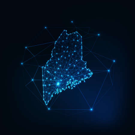 Maine state USA map glowing silhouette made of stars lines dots triangles, low polygonal shapes.
