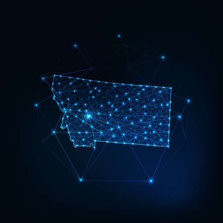 Montana state USA map glowing outline made of stars lines dots triangles, low polygonal shapes.