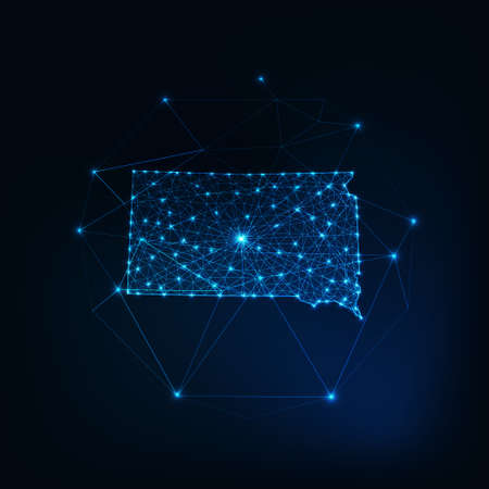 South Dakota state USA glowin gmap made of stars lines dots triangles, low polygonal shapes. 일러스트
