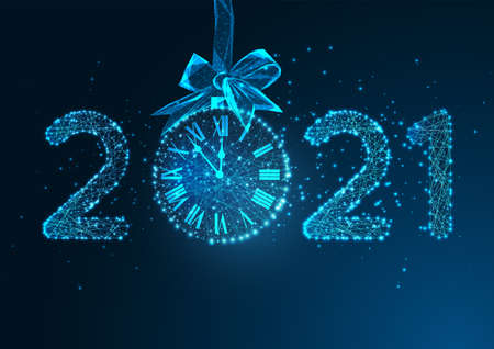 Happy New Year digital web banner with futuristic glowing low polygonal 2021 number and clock