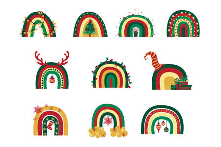 Set of cute Christmas rainbows with different christmas decorations isolated on white background. 일러스트