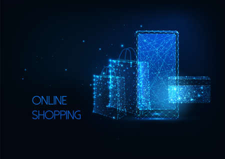 Futuristic online shopping, e-commerce concept with glow mobile phone, shopping bag and credit card